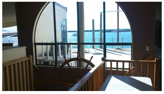 Stairwell looking out over the deck into Harbour